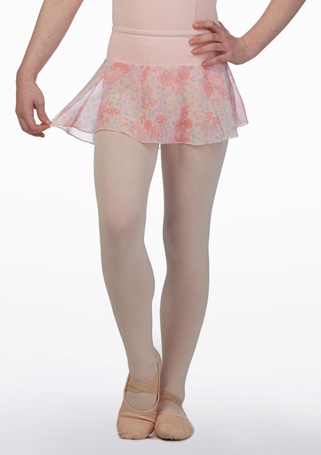 Bloch Pull On Floral Mesh Skirt* Pink front. [Pink]