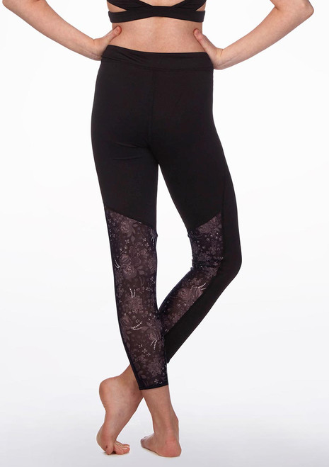 Bloch Floral Mesh Cropped Leggings* Black back. [Black]
