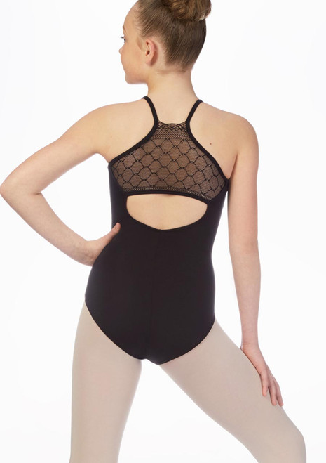 So Danca Girls Diamond Lace Leotard Black front. [Black]