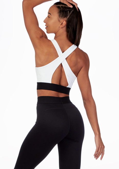 Move Cross Back Dance Crop Top White front. [White]