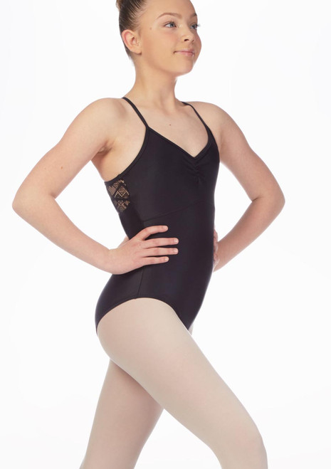 So Danca Girls Lace Cut Out Camsiole Leotard Black front. [Black]