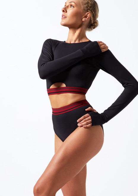 Move Dance Perform Long Sleeve Crop Top Black front. [Black]