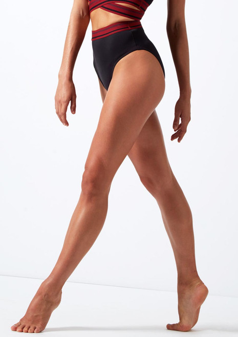 Move Dance Soar High Waisted Dance Brief Black front. [Black]