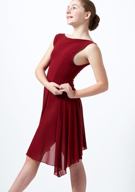 Move Dance Teen Portia Asymmetric Lyrical Dress Red front. [Red]