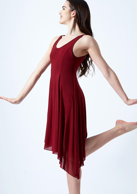 Move Dance Cressida Scoop Lyrical Dress Red front. [Red]