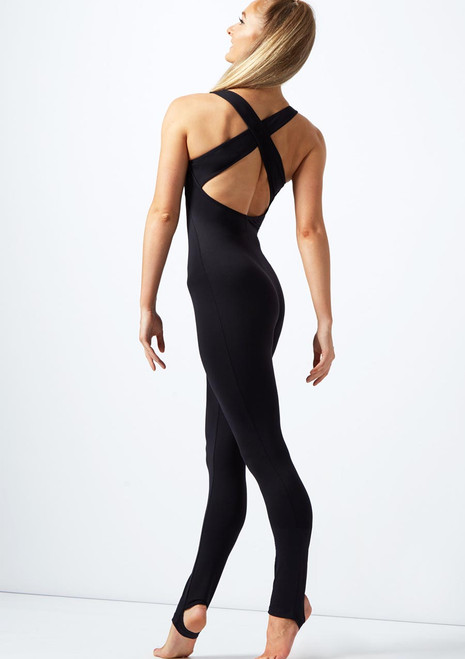 Move Dance Hanna Cross Back Catsuit Black back. [Black]