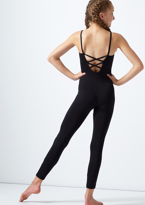 Move Dance Kayla Teen Cross Strap Scoop Back Catsuit Black back. [Black]