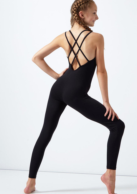 Move Dance Teen Lulu Double Cross Back Catsuit Black back. [Black]
