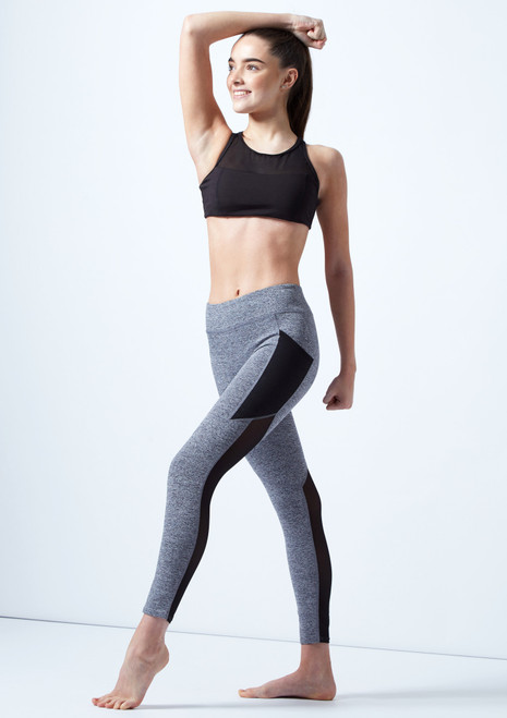 Capezio Teen Panelled Legging Grey front. [Grey]