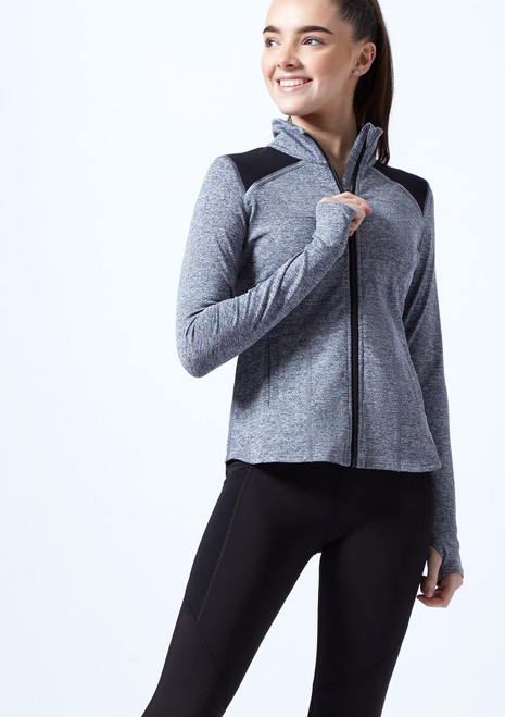 Capezio Teen Zip Front Jacket Grey front. [Grey]