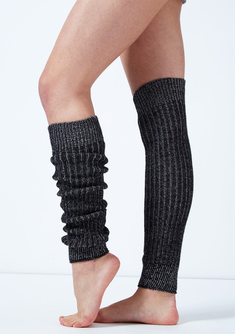 Intermezzo Ribbed Knit Legwarmers Black-Grey front. [Black-Grey]
