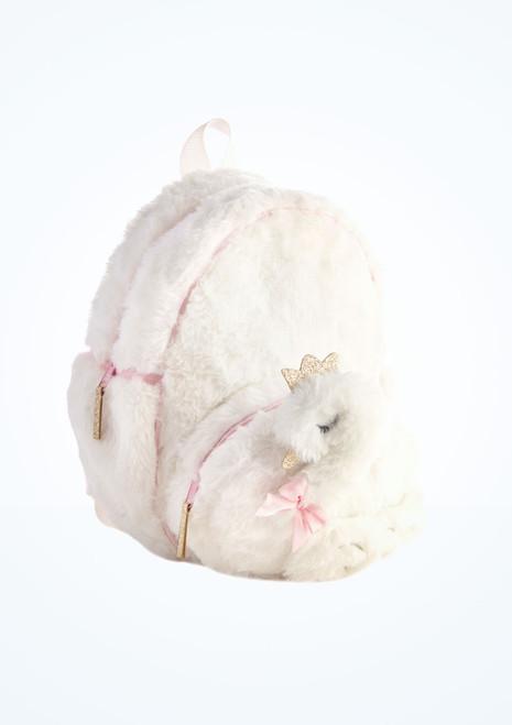 Capezio Swan Plush Backpack White front. [White]