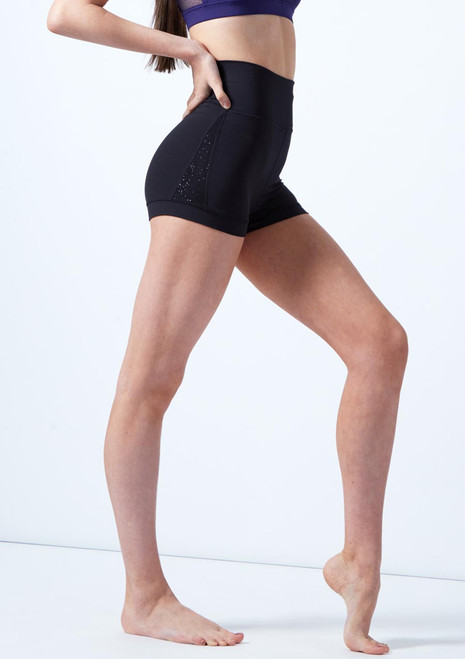 Capezio Teen High Waisted Shorts Black front. [Black]