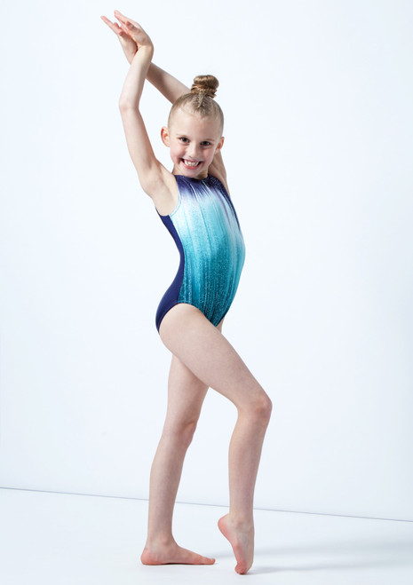 Alegra Girls Jade Galaxy Sleeveless Gymnastics Leotard Green front. [Green]