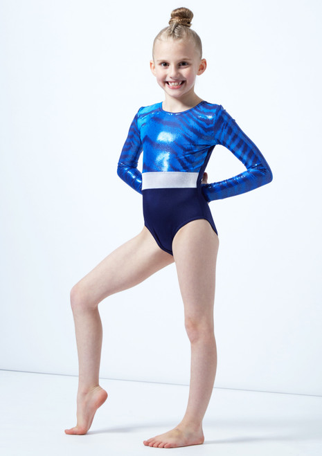 Alegra Girls Bengal Long Sleeve Gymnastics Leotard Blue front. [Blue]