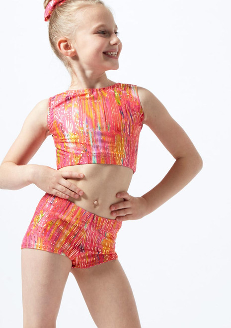 Alegra Girls Sunset Gymnastics Crop Top Orange front. [Orange]
