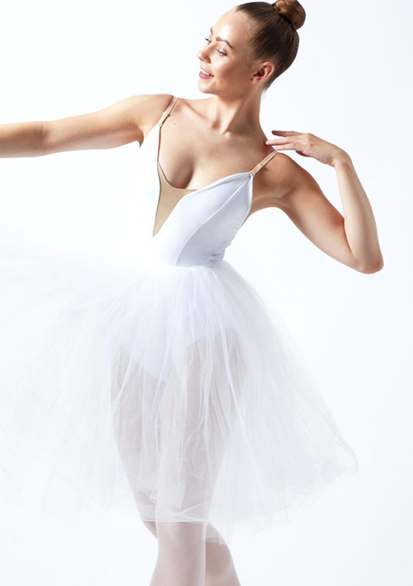 Leo's Dancewear Soft Tulle Juliet Tutu Skirt Black. [White]