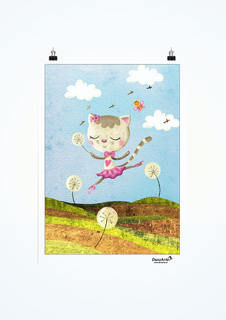 DanzArte Dancing Cat On Meadow Poster.