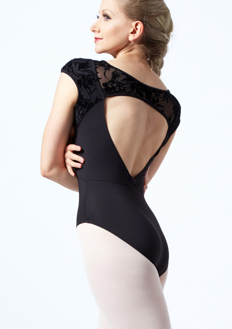 Bloch Cap Sleeve Floriade Mesh Leotard Black Back-1T [Black]