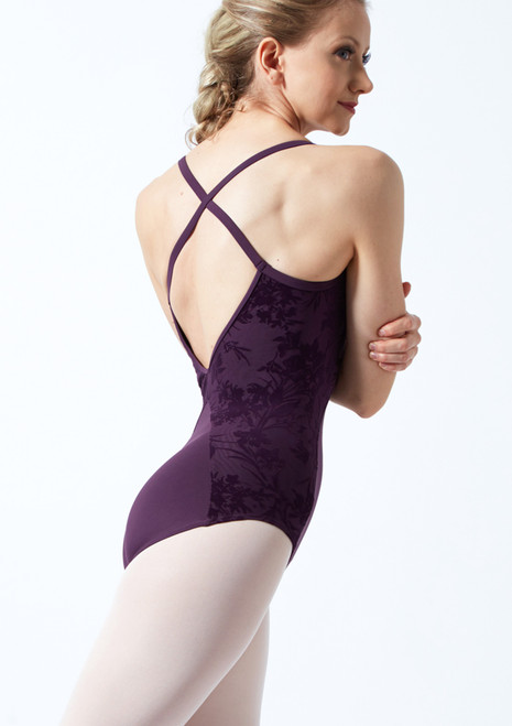 Bloch Cross Back Floriade Mesh Leotard Deep Purple Back-1T [Deep Purple]