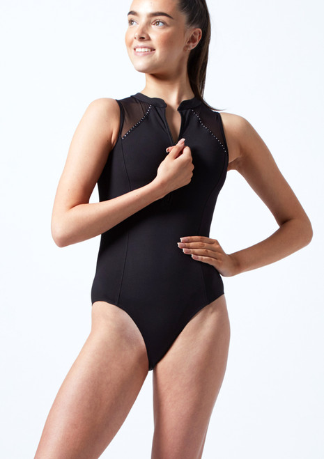 Bloch Teen High Neck Diamante Trim Leotard Black Front-2T [Black]