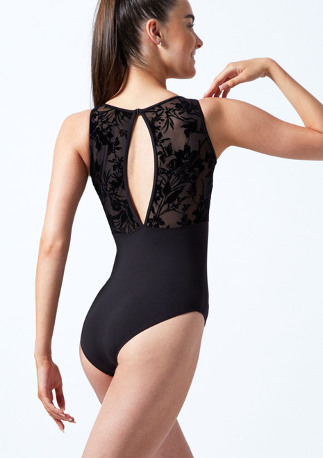 Bloch Teen Tank Sleeve Floriade Mesh Leotard Black Back-1T [Black]