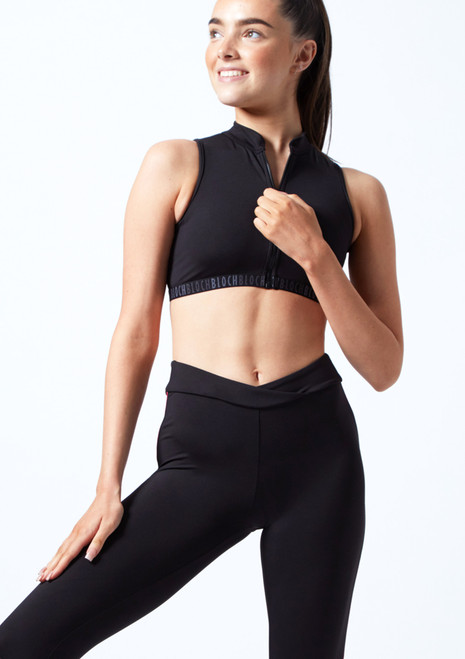Bloch Teen Zip Front Mesh Crop Top Black Front-2T [Black]