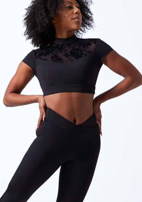 Bloch Cap Sleeve Floriade Mesh Crop Top Black Front-1T [Black]