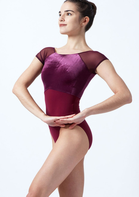 Intermezzo Cap Sleeve Velour Leotard Purple front. [Purple]