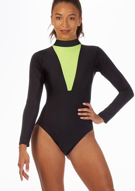 Alegra Fuse Long Sleeve Leotard Black-Green front. [Black-Green]