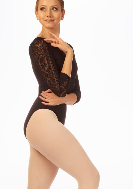 Intermezzo Open Back 3/4 Henna Sleeve Leotard Black back. [Black]