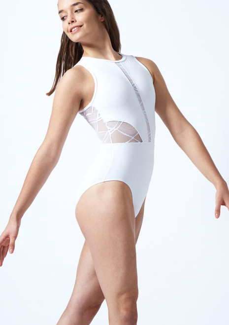 So Danca Harlequin Mesh Leotard White front. [White]