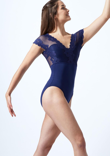 So Danca Floral Tulle Cap Sleeve Leotard Blue front. [Blue]