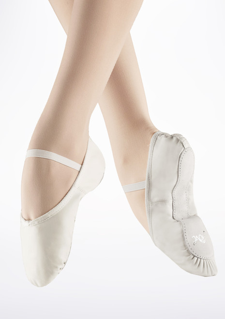 Move Full Sole Leather Ballet Shoe White. [White]