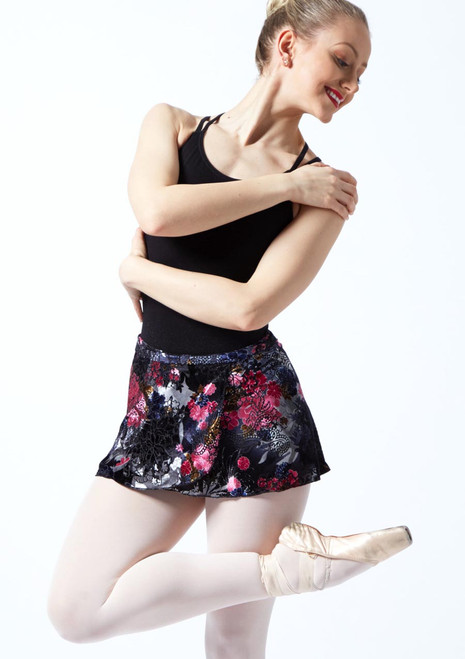Capezio Botanical Wrap Skirt Black front. [Black]