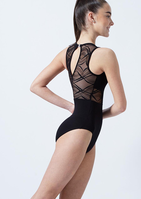 So Danca Teen Harlequin Mesh Leotard Black front. [Black]