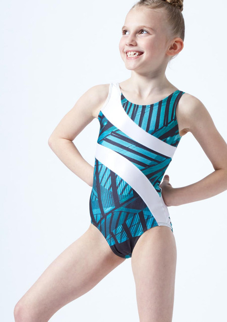 So Danca Girls Morisot Gymnastics Leotard Blue front. [Blue]