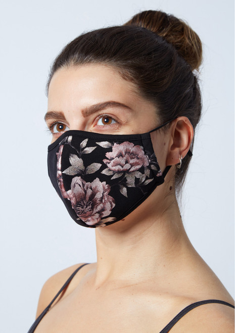 Move Dance Floral Face Mask Set - 2 Pack Black Front-1T [Black]