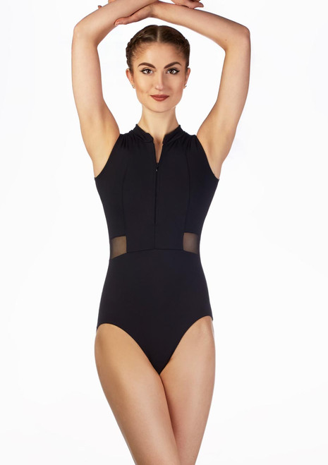 Intermezzo Mesh Panel Zip Leotard Blue front. [Blue]