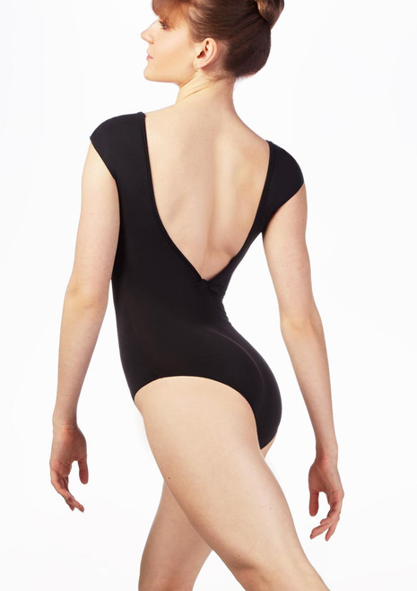 So Danca V Backless Leotard Black front. [Black]