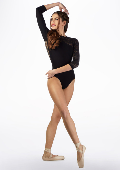 Basilica Long Sleeve Lace Leotard Black front. [Black]