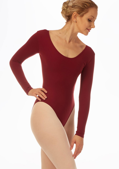 Grishko Long Sleeve Leotard Red front. [Red]