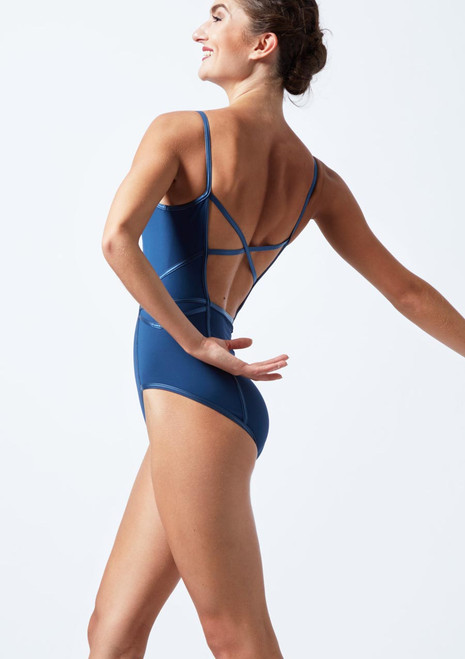 *Capezio Cross Back Camisole Leotard Blue back. [Blue]