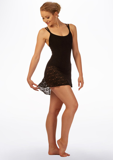 Basilica Floral Lace Leotard Dress Black front. [Black]