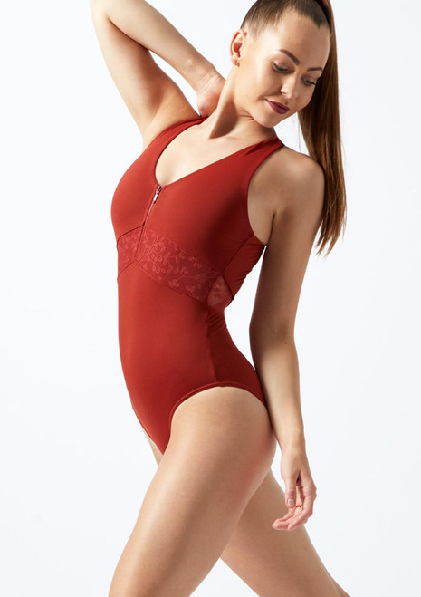 Mirella Zip-Up Cross Back Leotard* Brown front. [Brown]