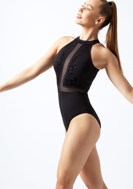 Bloch Flock Mesh Halterneck Leotard* Purple front. [Purple]