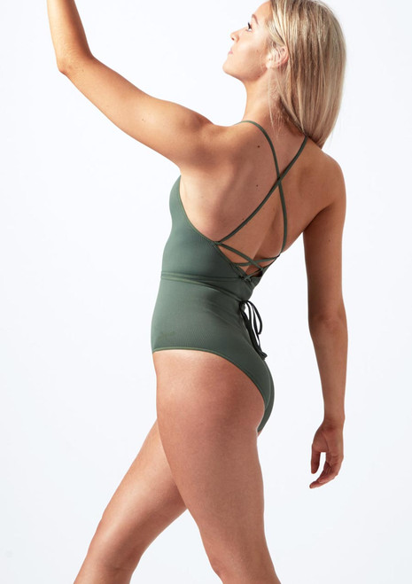 Capezio Cross Back Ribbed Camisole Leotard Green front. [Green]