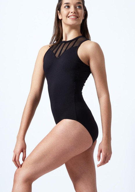 So Danca Mesh Panel Leotard Black front. [Black]