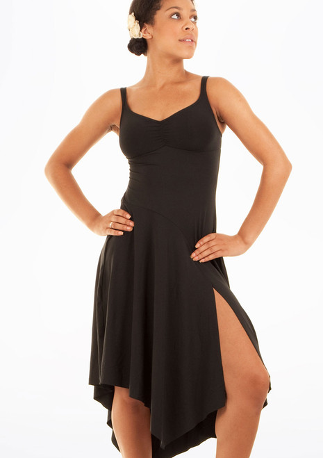 Mirella Asymmetrical Hem Tank Partner Dress Black. [Black]