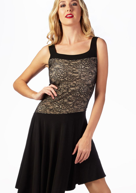 So Danca Lace Layer Ballroom Dress Black-Tan front. [Black-Nude]